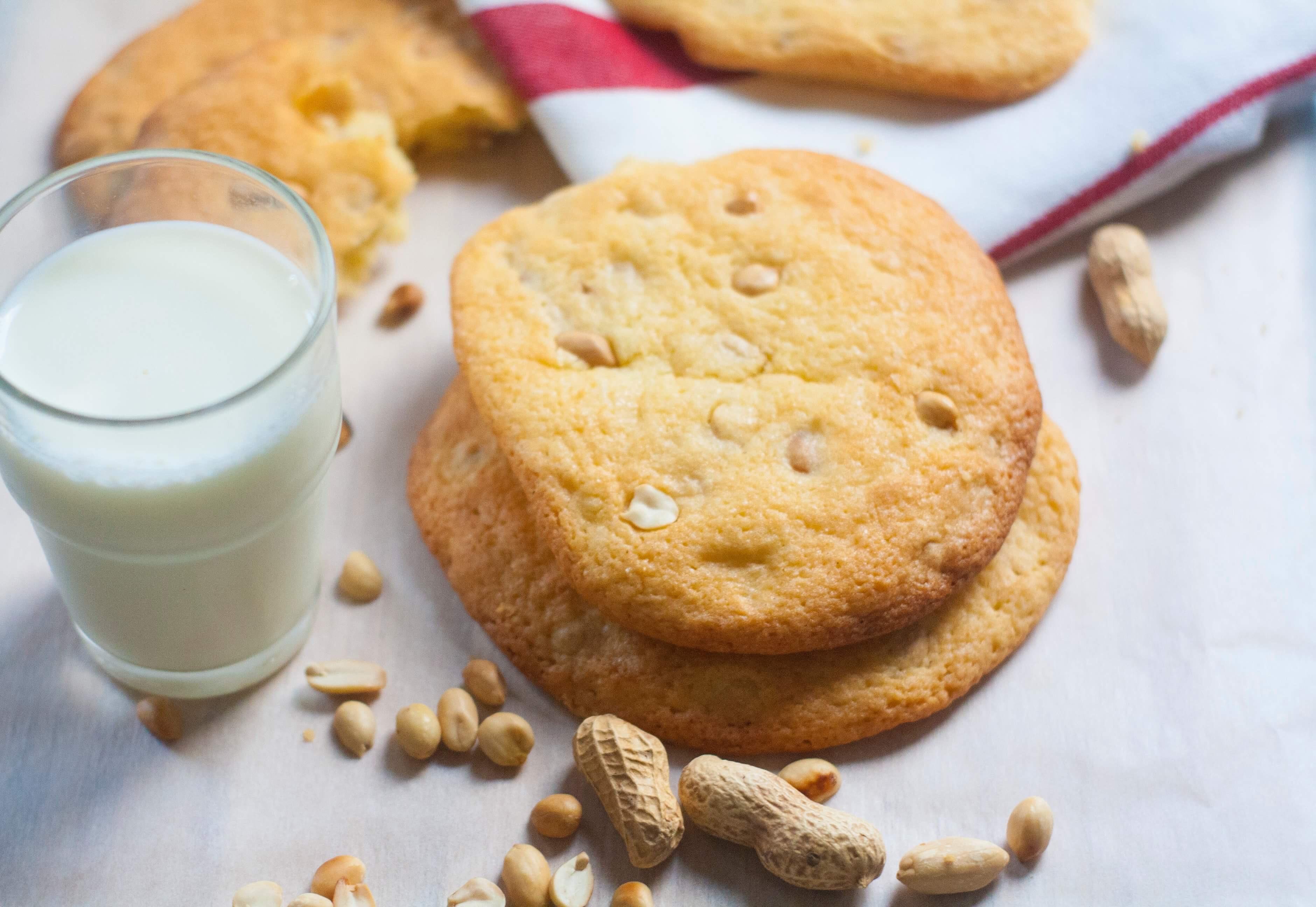 cookies géants aux cacahuètes et verre de lait